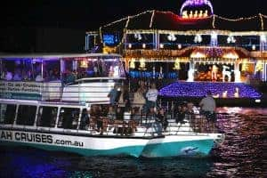 A vessel visiting an elaborate Christmas light